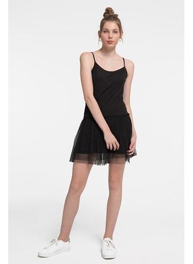 Loft İnce Askılı Pileli Mini Elbise Siyah